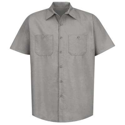 Men's Size L (Tall) Light Grey Industrial Work Shirt