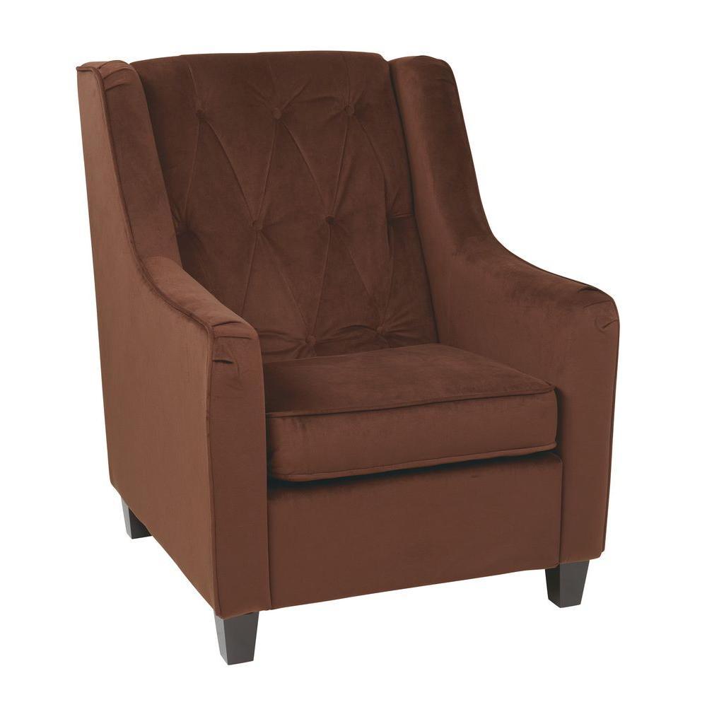 Chocolate Velvet Tufted Arm Chair