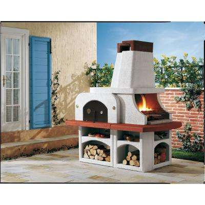 421.31 sq. in. Refractory Concrete Mixture, Charcoal and Wood Fire Pedestal Grill in Gray