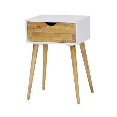 Shelly 24 in. White Wood End Table