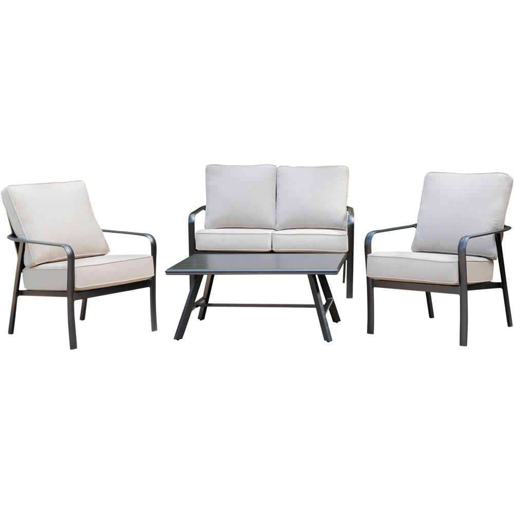 Cortino 4-Piece Commercial Rust-Free Aluminum Patio Conversation Set with Sunbrella Tan Cushions and Slat-Top Side Table