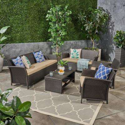 St. Lucia Brown 5-Piece Wicker Patio Conversation Set with Tan Cushions