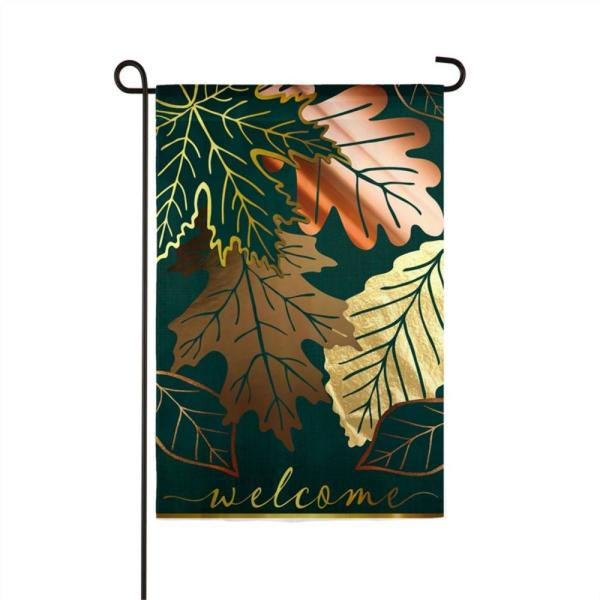 Evergreen 12 5 In X 18 In Metallic Autumn Leaves Garden Linen Flag 14l9430bl The Home Depot