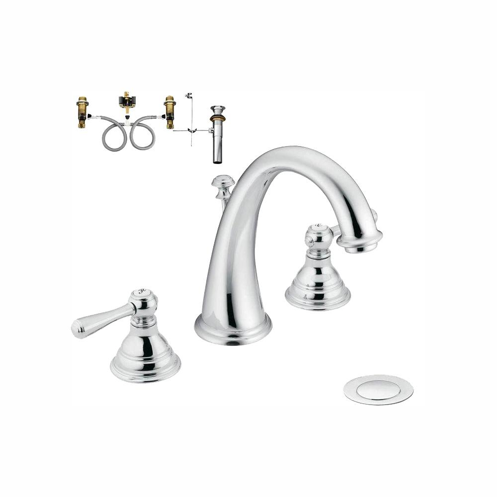 Moen Kingsley 8 In Widespread 2 Handle High Arc Bathroom Faucet Trim Kit With Valve Chrome