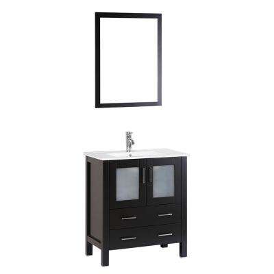 Bosconi 30 in. W Single Bath Vanity with Ceramic Vanity Top in White with White Basin and Mirror