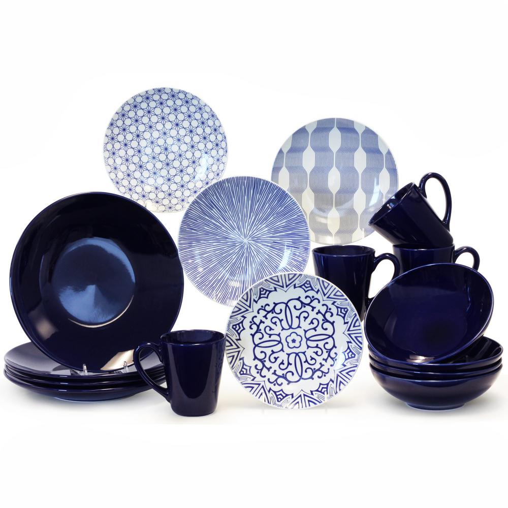 BAUM 16-Piece Blue and White Dinnerware Set  sc 1 st  The Home Depot & BAUM 16-Piece Blue and White Dinnerware Set-BAW16BBB - The Home Depot
