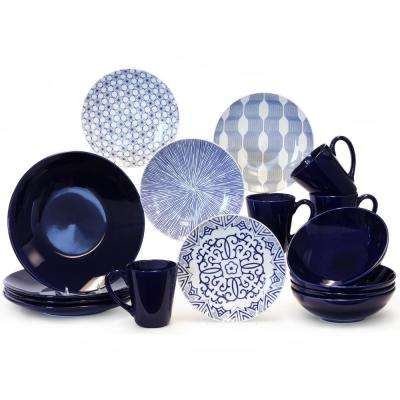 16-Piece Blue and White Dinnerware Set