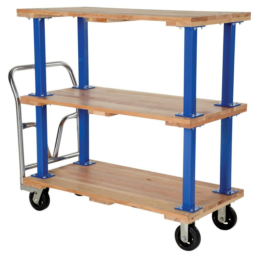 Vestil 24 in. x 48 in. Triple Deck Hardwood Platform Cart