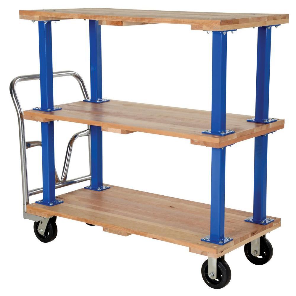 24 in. x 48 in. Triple Deck Hardwood Platform Cart