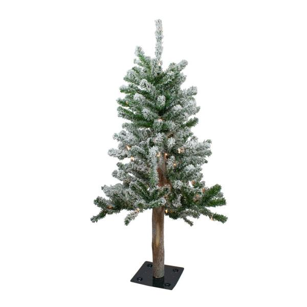 3 ft. Pre-Lit Flocked Alpine Artificial Christmas Tree with Clear Lights