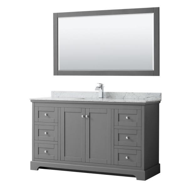 Avery 60 in. W x 22 in. D Bath Vanity in Dark Gray with Marble Vanity Top in White Carrara with White Basin and Mirror