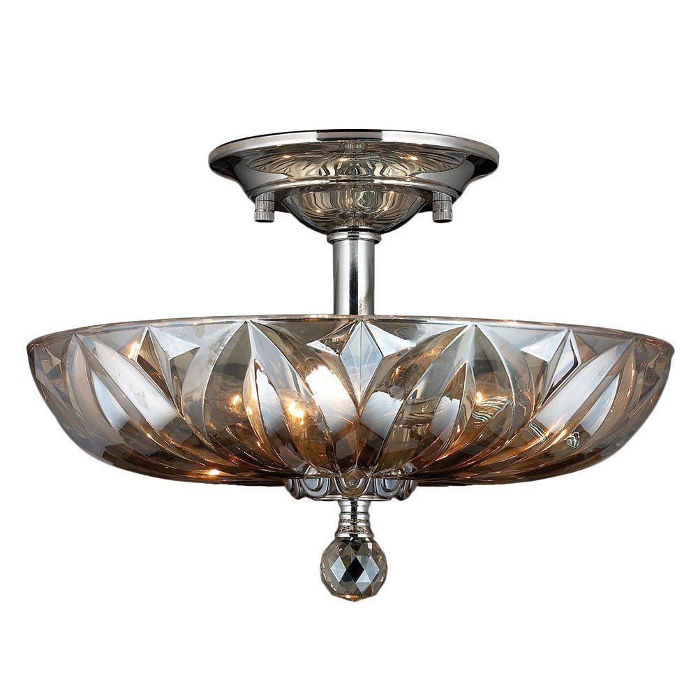 Mansfield 4-Light Chrome and Golden Teak Crystal Semi-Flush Mount Light