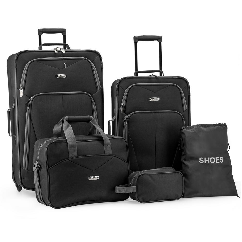 5-Piece Black Softside Lightweight Rolling Luggage Set