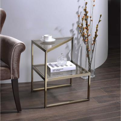 Treva Antique Gold and Glass End Table