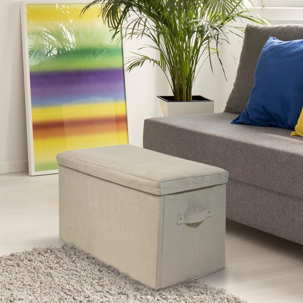 Beige Microsuede Folding Storage Bench