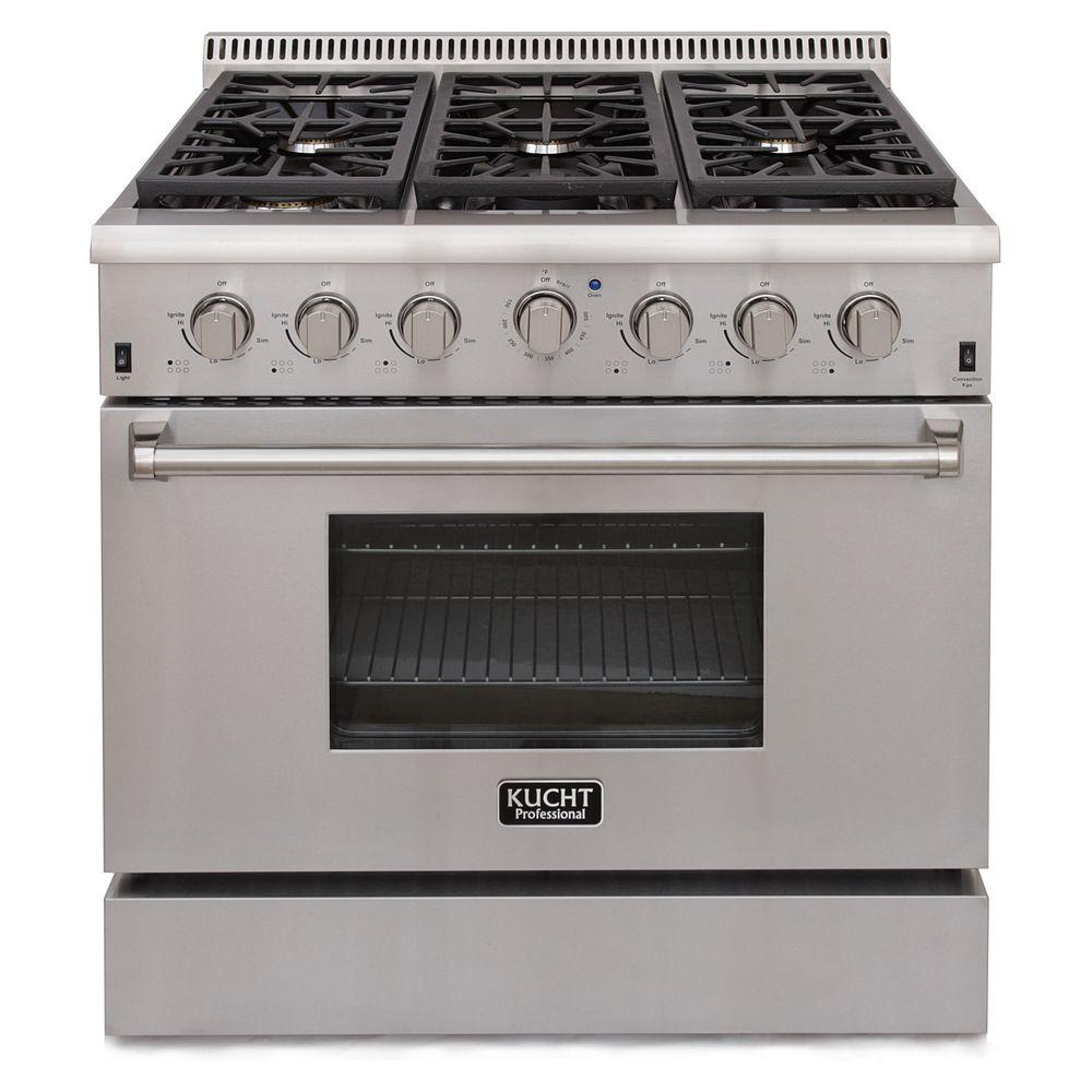 Kucht Pro Style 36 In 5 2 Cu Ft Natural Gas Range In Stainless