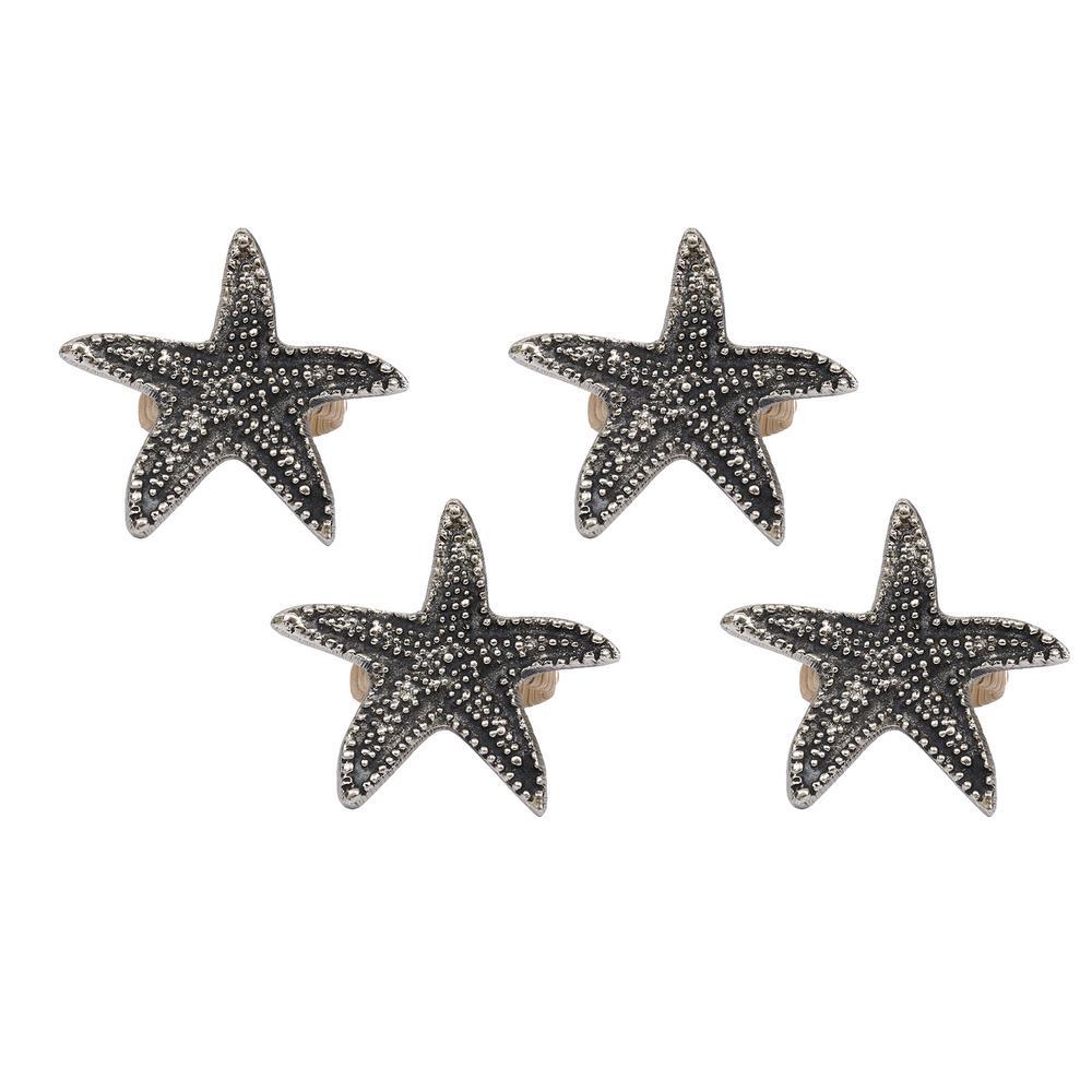 Silver Starfish Napkin Ring (Set of 4)
