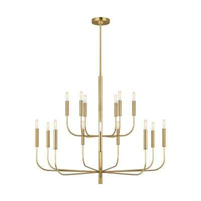 ED Ellen DeGeneres Crafted by Generation Lighting Brianna 48.75 in. W 15-Light Burnished Brass Chandelier and Swivel Rod