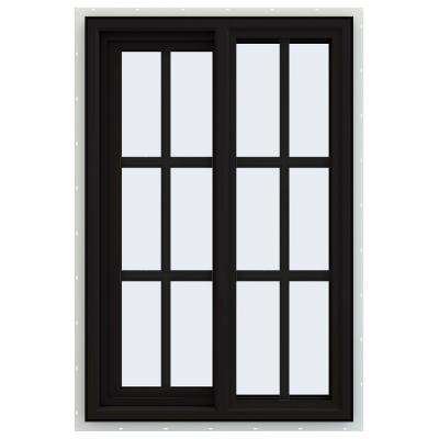 24 in. x 36 in. V-4500 Series Black FiniShield Vinyl Left-Handed Sliding Window with Colonial Grids/Grilles