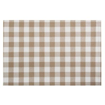 Buffalo Check 18 in. x 12 in. Beige / Cream Taupe Checkered Cotton/Polyester Placemats (Set of 4)