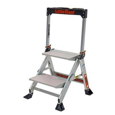 2 Step Aluminum Jumbo Step Ladder 375 lbs. Rated Type IAA