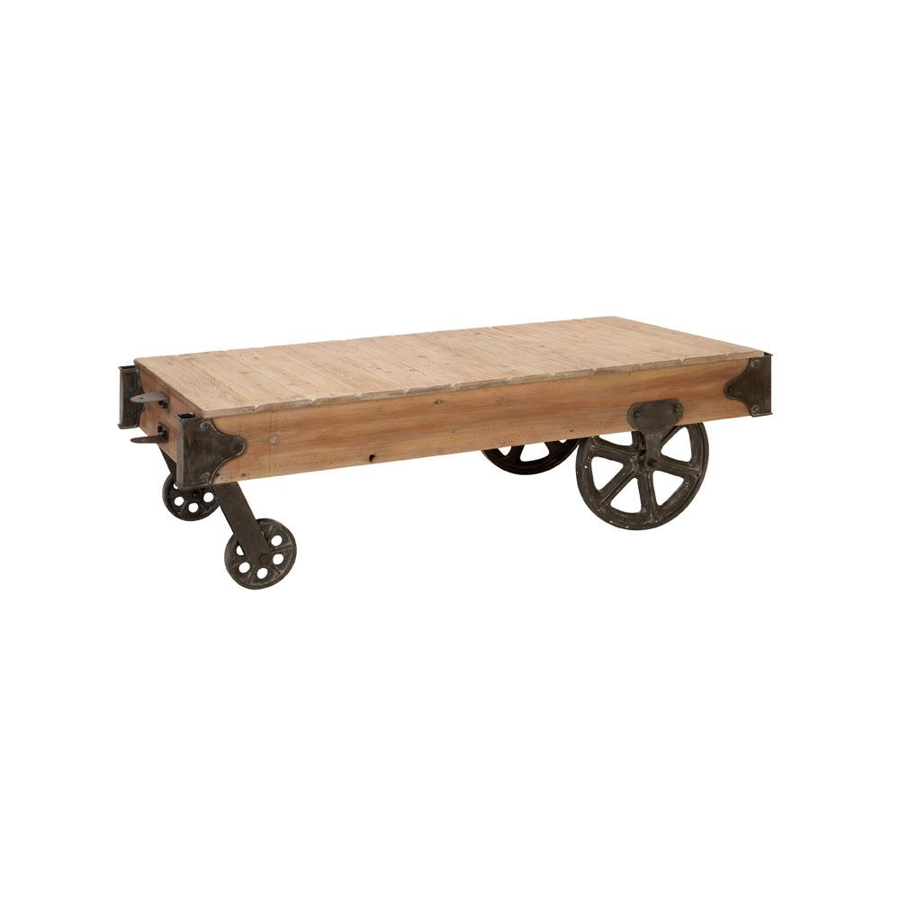 Distressed Brown Wood and Metal Rectangular Cart-Style Coffee Table