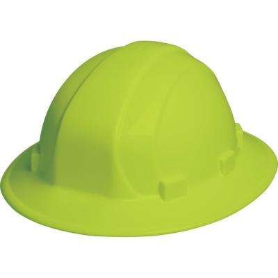 Omega II 6 Point Nylon Suspension Mega Ratchet Full Brim Hard Hat in Hi Viz Lime