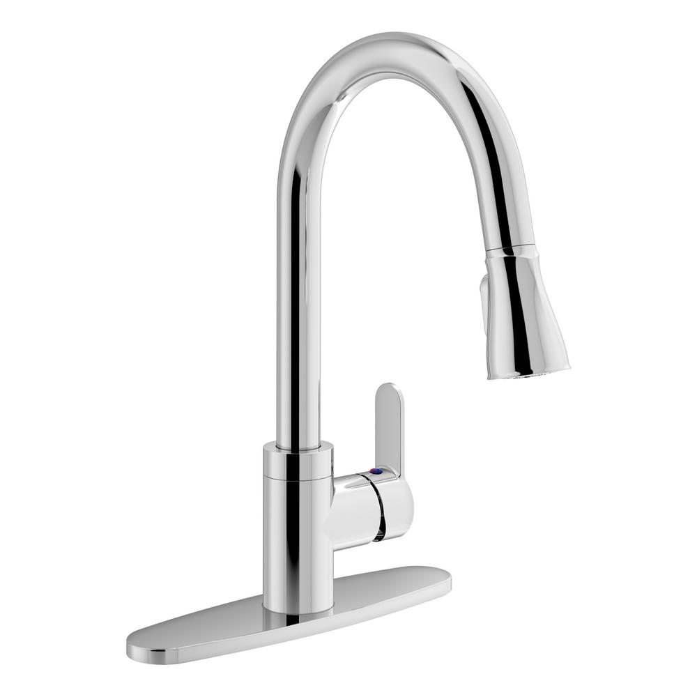 Identity Single-Handle Pull-Down Sprayer Kitchen Faucet with Deck Plate in
