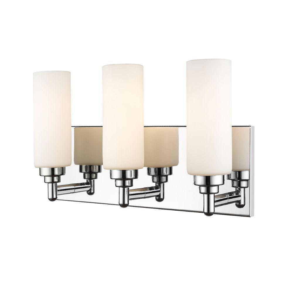 23 in. 3-Light Chrome Vanity Light with White Glass