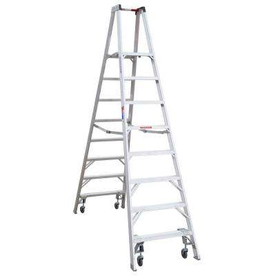 12 ft. Reach Aluminum Platform Twin Step Ladder with Casters 300 lb. Load Capacity Type IA Duty Rating