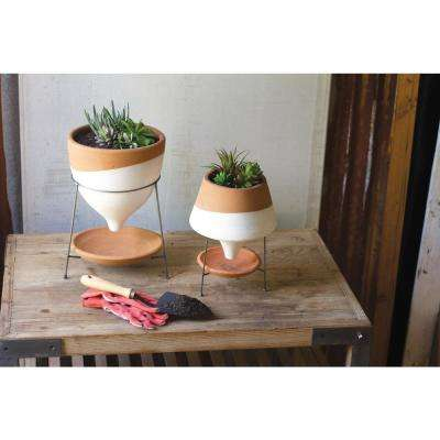 White and Terracotta Clay Large Funnel Planter with Wire Base