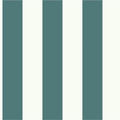 56 sq. ft. Blue and White Awning Stripe Removable Wallpaper