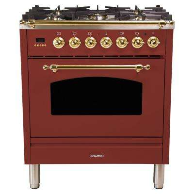 30 in. 3.0 cu. ft. Single Oven Italian Gas Range with True Convection, 5 Burners, LP Gas, Brass Trim in Burgundy
