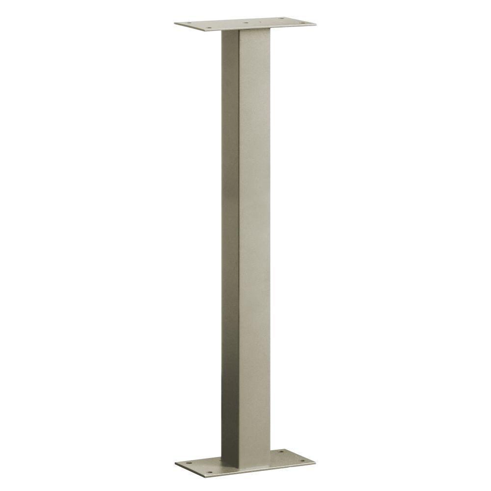 Salsbury Industries Standard Bolt Mounted Pedestal for Designer Roadside Mailbox in Nickel