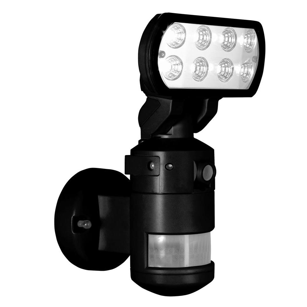 NightWatcher Security 220-Degree Outdoor Black Motorized Motion-Tracking LED Security Light with Built-in Security Camera