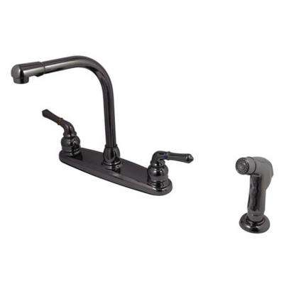 2-Handle Standard Kitchen Faucet with Side Sprayer in Black Stainless Steel