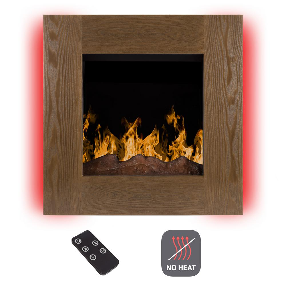 Wall Mount No Heat Electric Fireplace In Barn Wood