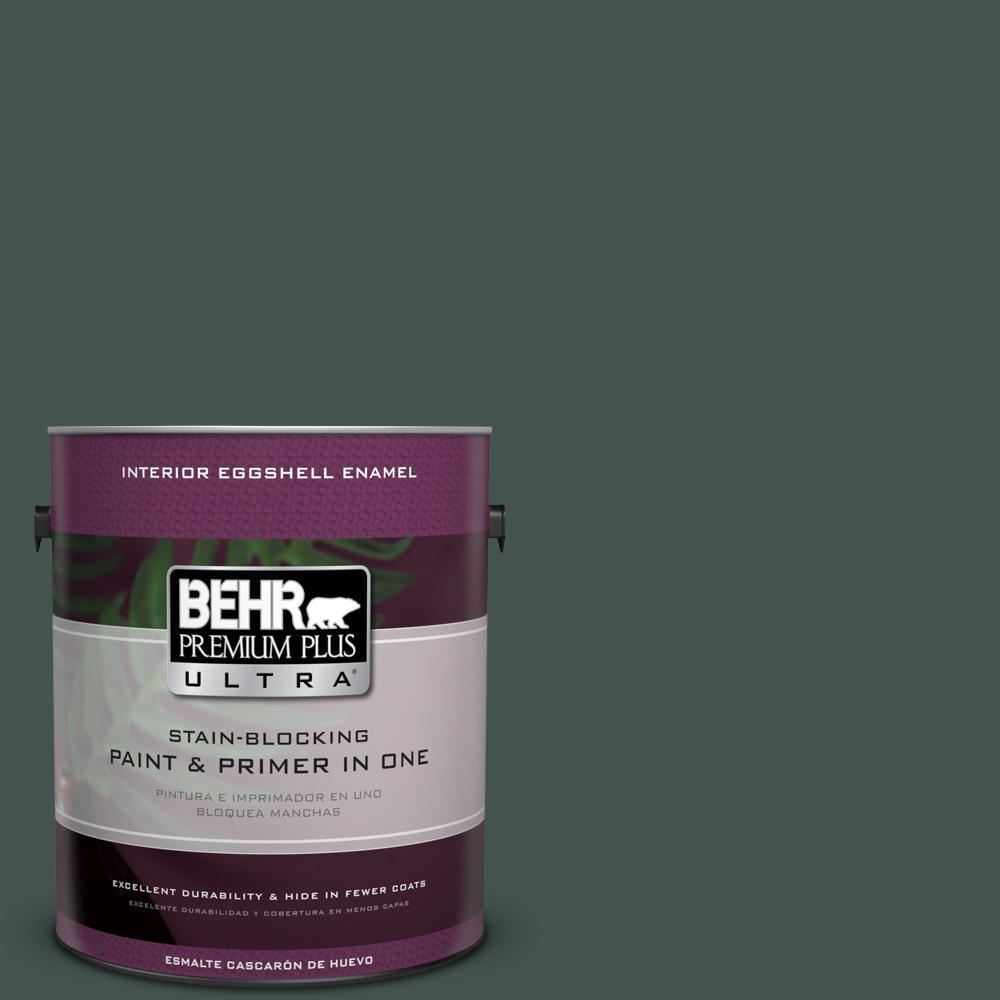 1 gal. #MQ6-44 Black Evergreen Eggshell Enamel Interior Paint and Primer