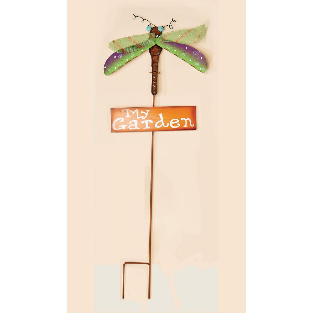 Metal Dragon Fly Garden Stake With Orange My Garden Sign