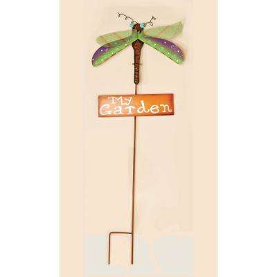 35 in. Metal Dragon Fly Garden Stake With Orange My Garden Sign