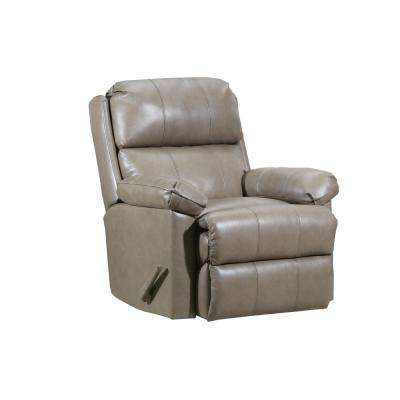 Soft Touch Taupe Leather Rocker Recliner