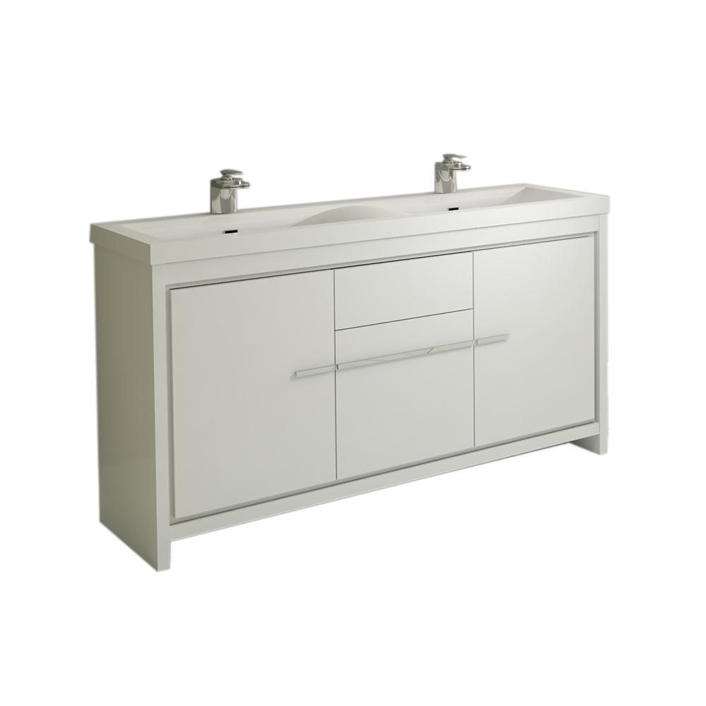 The Modern 56.625 in. W x 19.875 in. D Bath Vanity in White with Acrylic Vanity Top in White with White Basin