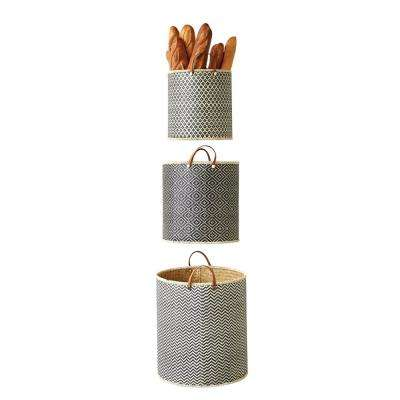 Wood Palm Leaf and Leather Baskets (Set of 3)