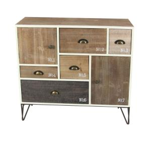 7-Drawer Stained Wooden Storage Chest