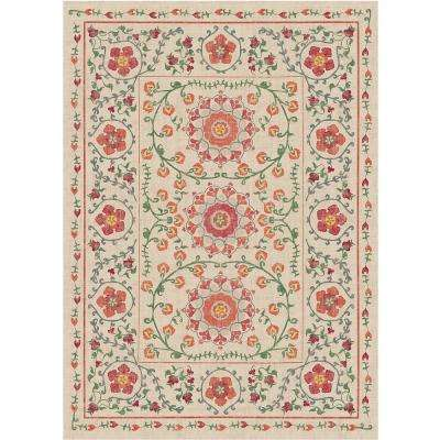 Washable Suzi Coral 5 ft. x 7 ft. Area Rug