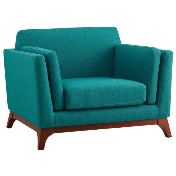 MODWAY Chance Teal Upholstered Fabric Armchair