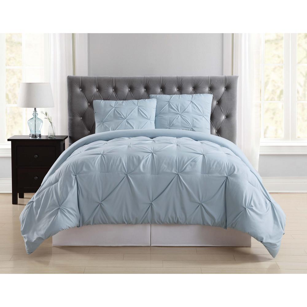 Everyday Pleated Light Blue King Comforter Set