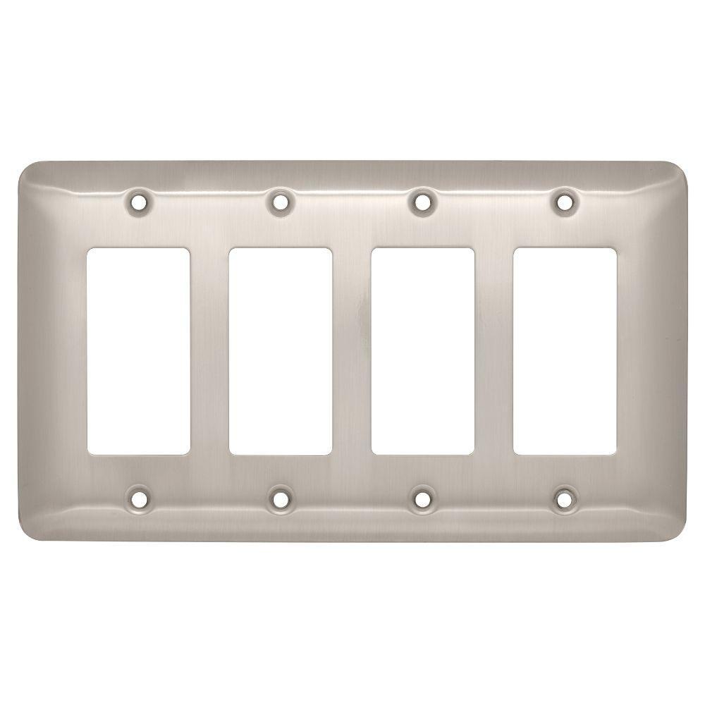 Stamped Round Decorative Quadruple Rocker Switch Plate, Satin Nickel
