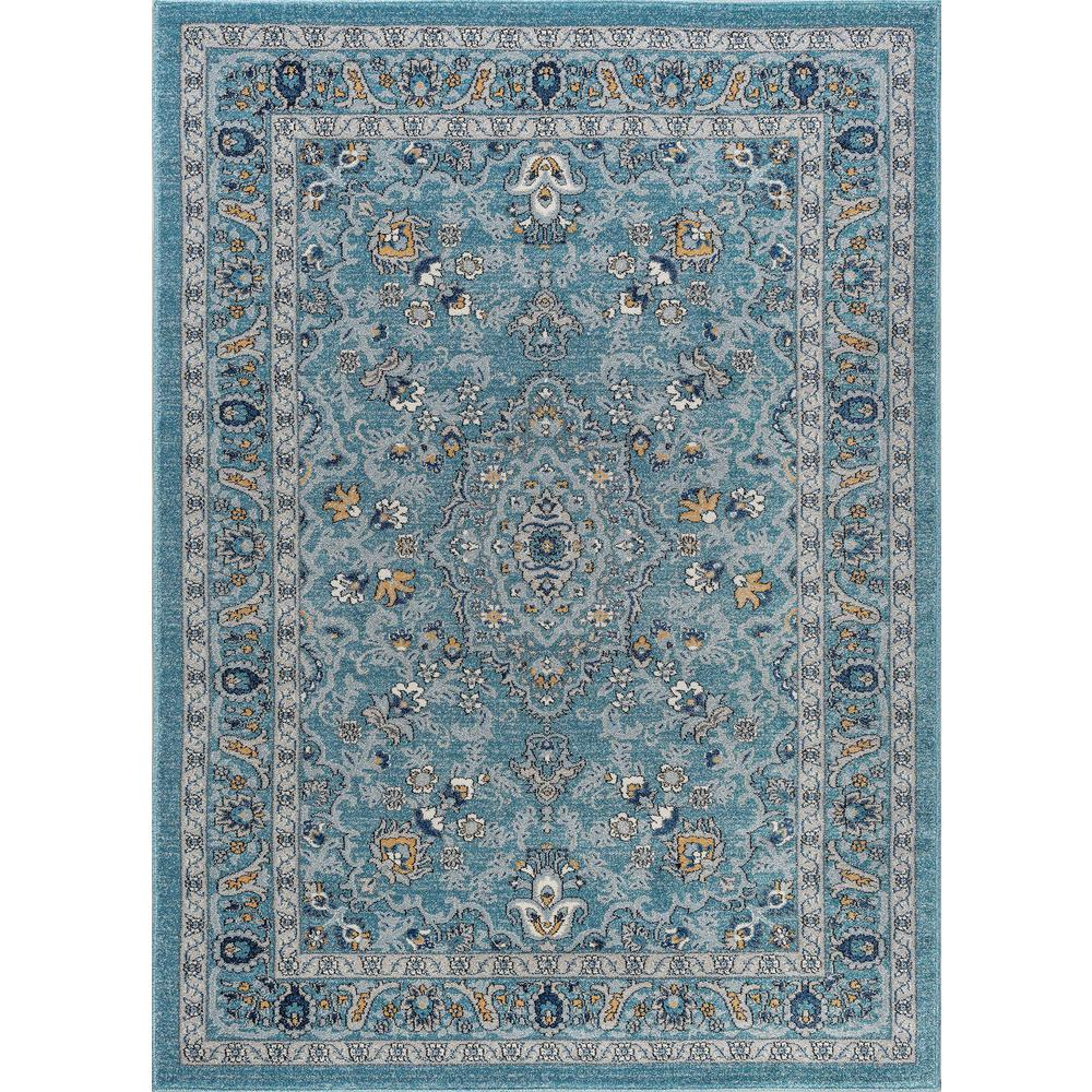Tayse Rugs Kensington Aqua 5 Ft. X 7 Ft. Indoor Area Rug
