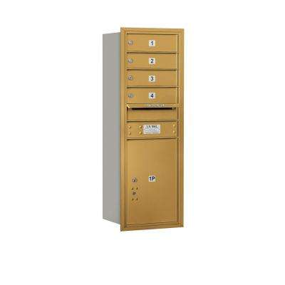 41 in. H x 16 3/4 in. W Gold Rear Loading 4C Horizontal Mailbox with 4 MB1 Doors/1 PL5
